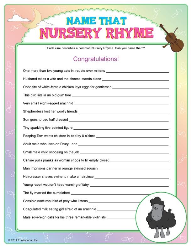 Name Nursery Rhymes Party Game