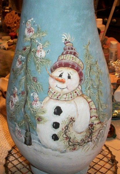 Snowman Tree Gourd - painted this on canvas for my sister and framed it - she loved it.;.