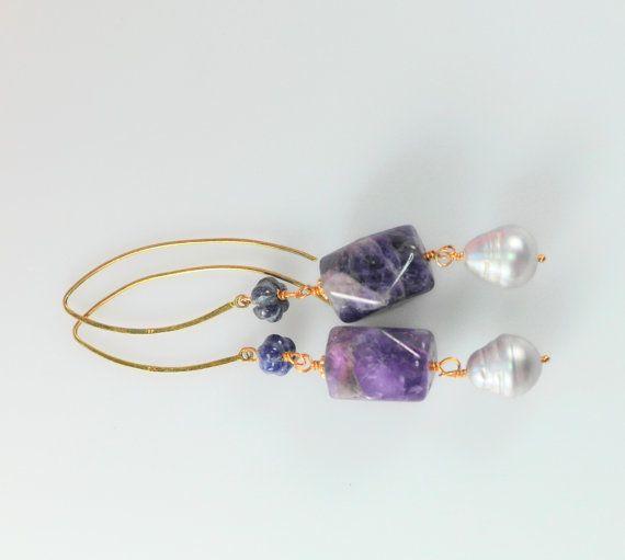 zilver goud vergulde oorbellen met Saffier door wwwjewelqueennl