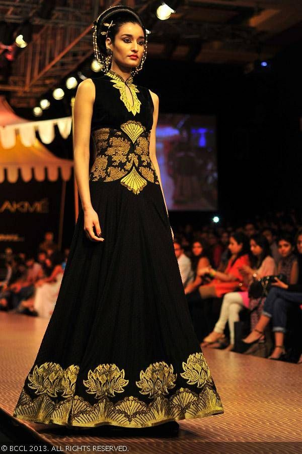 Black and gold anarkali by  Shantanu Goenka at Lakme Fashion Week (LFW) Winter/Festive 2013