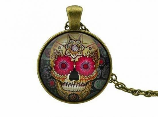 Steampunk sugarskull necklace