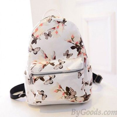 Cute Vintage Backpack With Butterfly Patterns Light Foggy Gray Color
