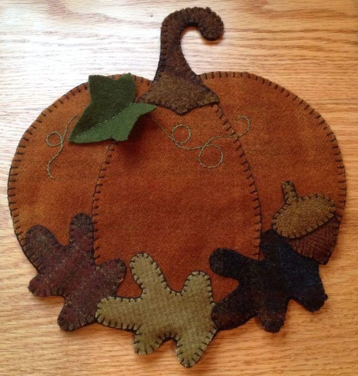 Primitive Wool Penny Rug~Pumpkin~Votive/Jar Candle Mat#2~Fall Decor #NaivePrimitive