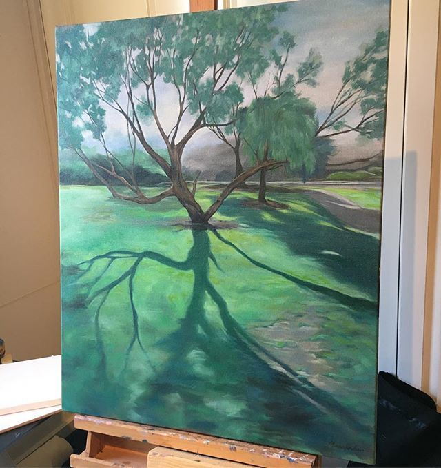 This one Morning Light is on its way to a collector right now. Travel safe my love #painting#soldpainting#oiloncanvas#treeshadow#green#morninglight#art#oilpainting