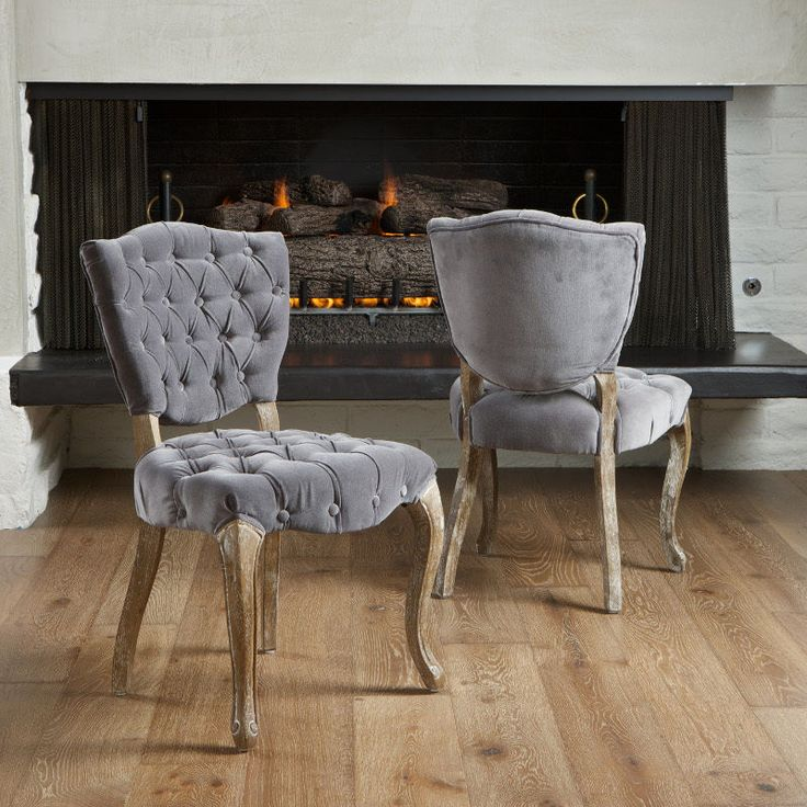 High Back Grey Velvet Dining Chairs Bungee Chair Sports Authority Set Of 2 French Design Weathered Oak Upholstered W/ Tufted | Upholstering ...