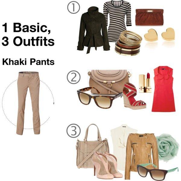 1 Basic, 3 Outfits: Khaki Pants, created by naushinazim.polyvore.com