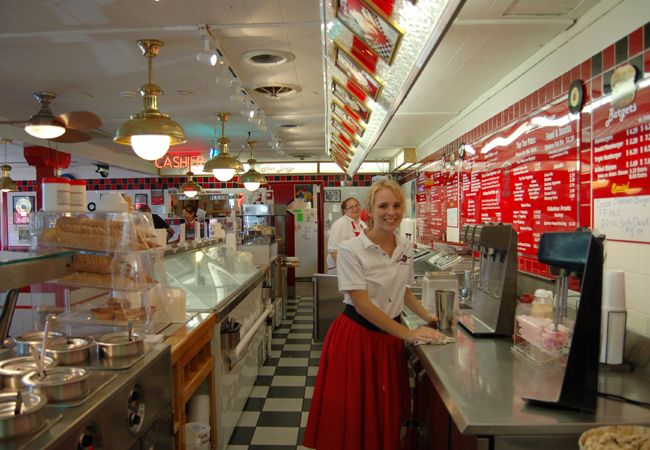 Branson, MO - Cakes-n-Creams is a 50's style restaurant that specializes in burgers and fries, funnel cakes (their signature dessert) and cream pies.