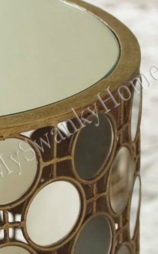 Amazon.com: Luxe Mirror Top IRON Circles Accent Side Table Gold Contemporary Sadie: Kitchen & Dining