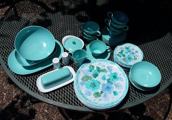 Texas ware Vintage Melamine dinnerware turquoise Texasware