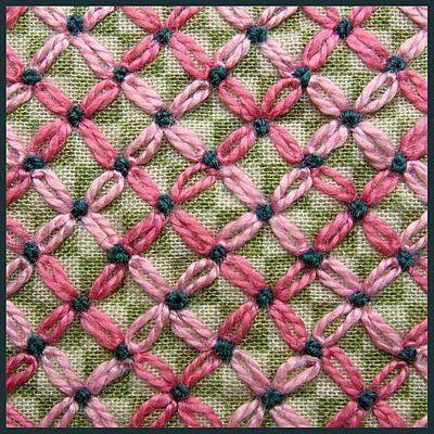 Dense embroidery on checks
