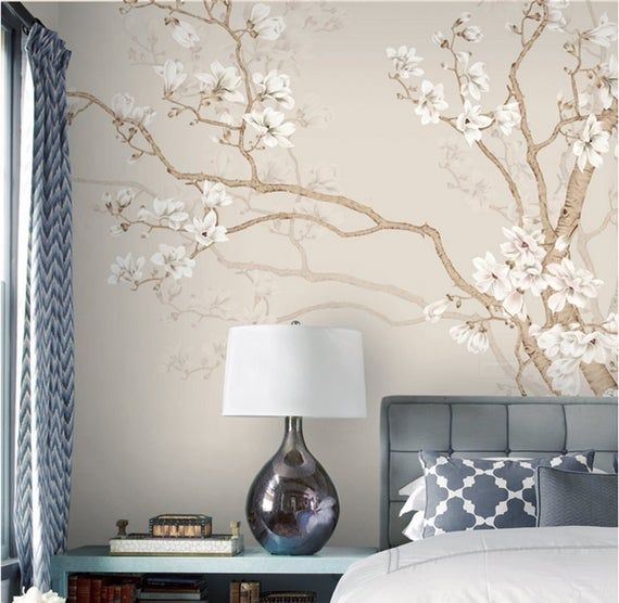 Hand Painted Large Magnolia Tree Flowers Tree Wallpaper Wall Mural Flowers With Birds Wall Murals Birds And Flowers Floral Tree Wallpaper Parete Amovibile Tappezzeria Murale