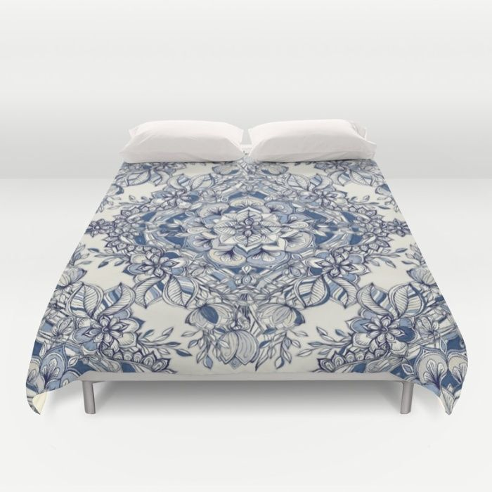 Floral Diamond Doodle in Dark Blue and Cream Duvet Cover