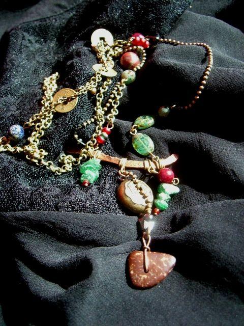 long necklace, boho style