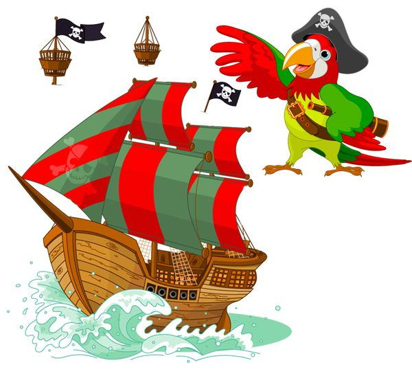 Pirate Ship Nursery Kids Cartoon Pirate Ship And