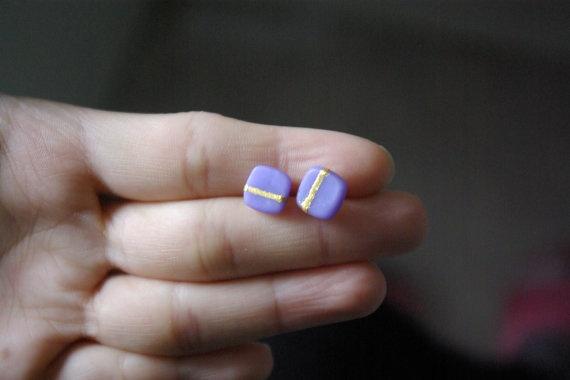 Lavender flower post earrings- set of 2. $11.81, via Etsy.