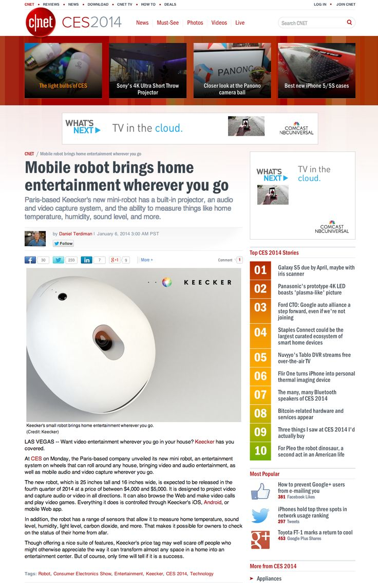 "@CNET ""KEECKER mobile robot brings home entertainment wherever you go"""