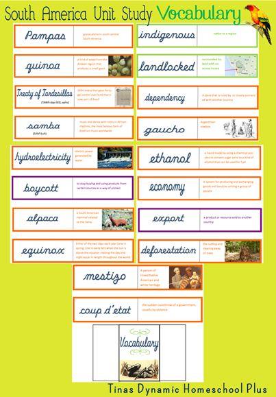 Vocabulary Words South America Unit Tinas Dynamic Homeschool #southamerica #vocabularywords
