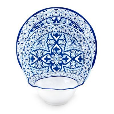 Q Squared Talavera Azul 12-Piece Dinnerware Set in White/Blue  sc 1 st  Pinterest : fair trade dinnerware - pezcame.com