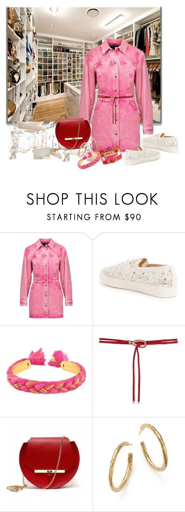 """Work Outfit...Wednesday...Pink Denim & Red"" by onesweetthing ❤ liked on Polyvore featuring Roberto Cavalli, Antonio Melani, Aurélie Bidermann, Maje, Angela Valentine Handbags and Ippolita"