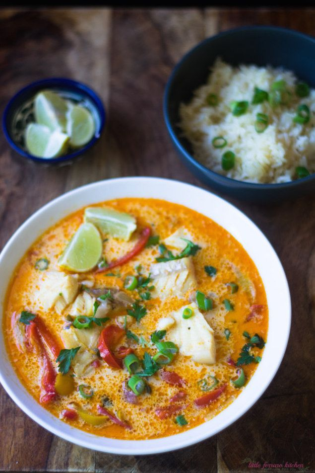 A vibrant fish stew that is made with your local seafood, coconut milk, and peppers. Serve with lime juice and rice for a gorgeous meal.