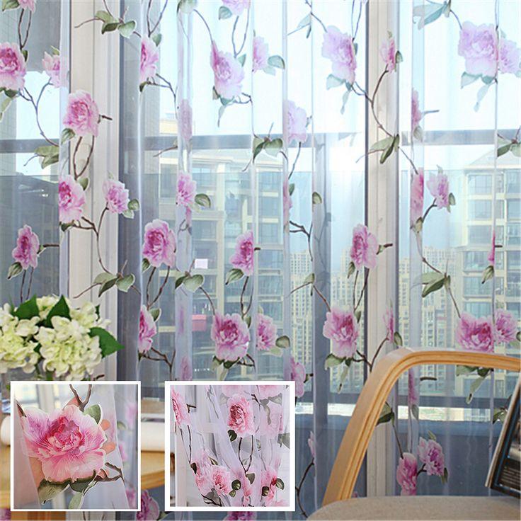 encontrar ms cortinas informacin acerca de floral de lujo de tul pura voile ventana de