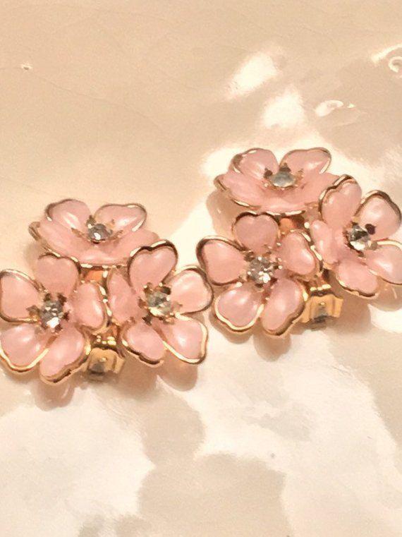 Mid Century Vintage Pink Flower Leaf Clip On Earrings Hippy 1960s Rhinestones
