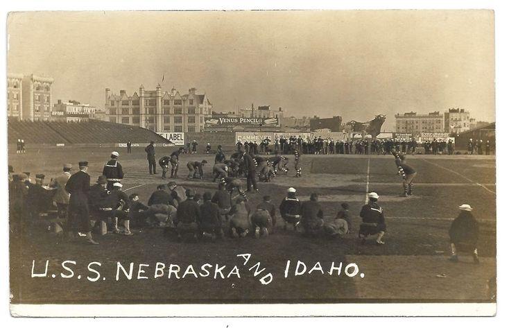 RPPC AZO Postcard Football Game U.S.S. Nebraska vs U.S.S. Idaho New York Stadium