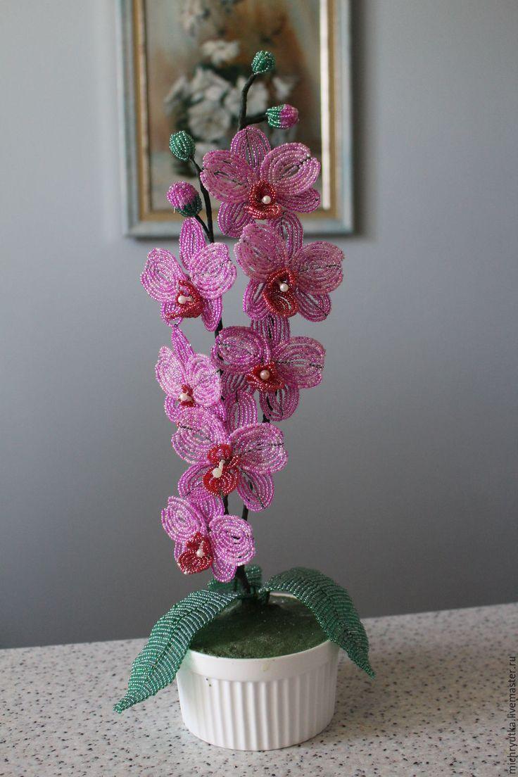 Купить орхидея  РОЗОВЫЙ БАРХАТ - розовый, орхидея ручной работы, цветок ручной работы, праздники