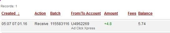 I WORK FROM HOME less than 10 minutes and I manage to cover my LOW SALARY INCOME. If you are a PASSIVE INCOME SEEKER, then AdClickXpress (Ad Click Xpress) is the best ONLINE OPPORTUNITY for you AdClickXpress.Official Make Money Online Ads ‪#‎ACX‬ ‪#‎AdClickXpress‬ ‪ Date: 07/01/2016 05:07 To Pay Processor Account: U4962269 Amount: 4.8 Currency: USD Batch: 115583116 Memo: API Payment. Ad Click Xpress Withdraw 4550269-326599.