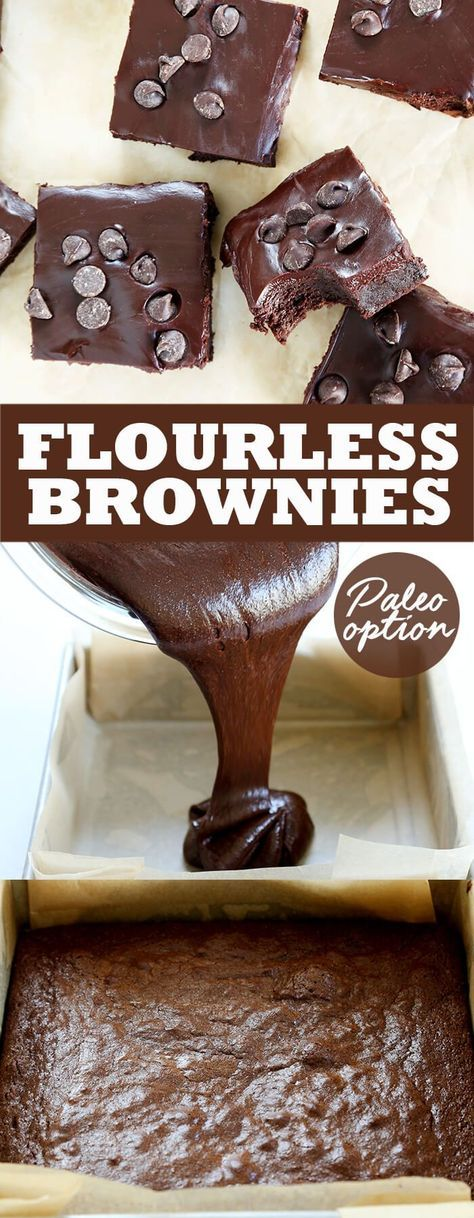 These naturally gluten free flourless brownies are rich and fudgy, with a Paleo option, too. Made with melted chocolate and cocoa powder, and topped with a simple chocolate ganache.