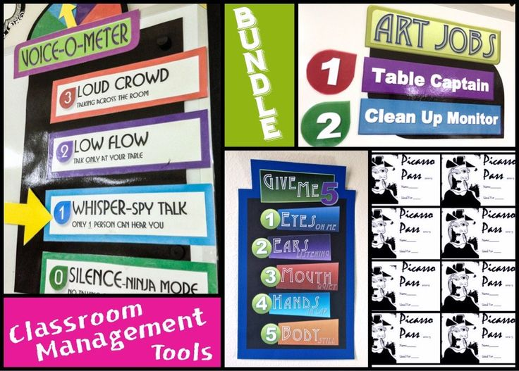 """BUNDLED Art Classroom Management Tools Includes: Voice O Meter Template (Word & PDF), Give Me """"5"""" Sign Template, Picasso Pass Incentive Tickets, & Art Jobs Sign TemplateBUNDLED Classroom Management Tools"""