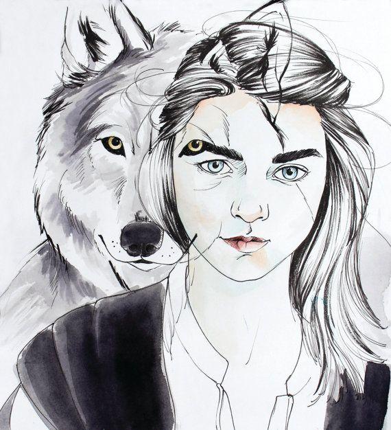 Game of Thrones: Arya Stark, Nymeria Art Print, Game of Thrones Poster, Arya Poster, Direwolf Poster, Stark Poster, Got Poster