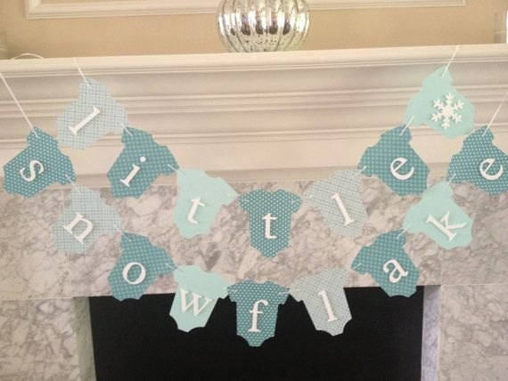 Baby Shower Decor Little Snowflake Banner Fall Baby by PaperStrip