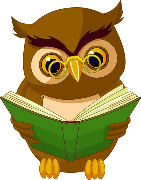 Transparent Owl with Book PNG Clipart Picture