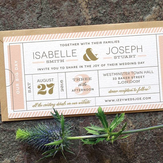 Modern Ticket Wedding Invitation / 'Typography by twoforjoypaper