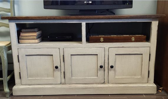 52 Madia Console / Wooden TV Stand / Smokey by HarvestTreasuresInc
