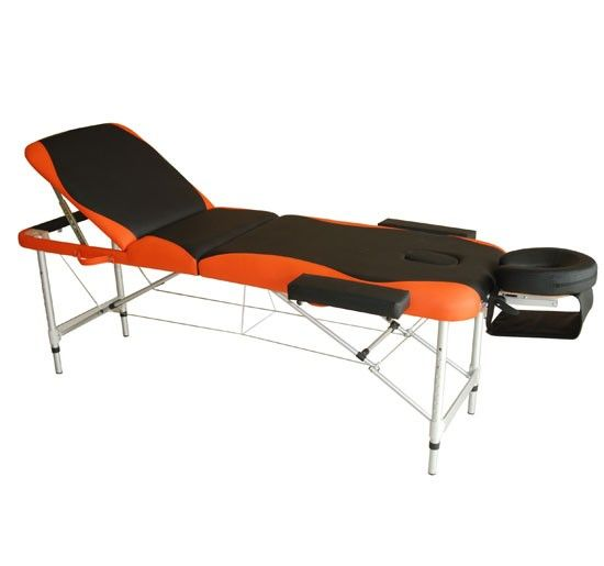 Lit/table de massage cosmetique pliable en aluminium 3 zones noir et orange neuf 83 - Aosom.fr - Aosom.fr