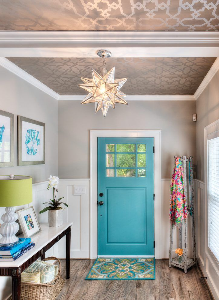 Ceiling wallpaper designs entry traditional with marble top console metallic wallpaper turquoise door