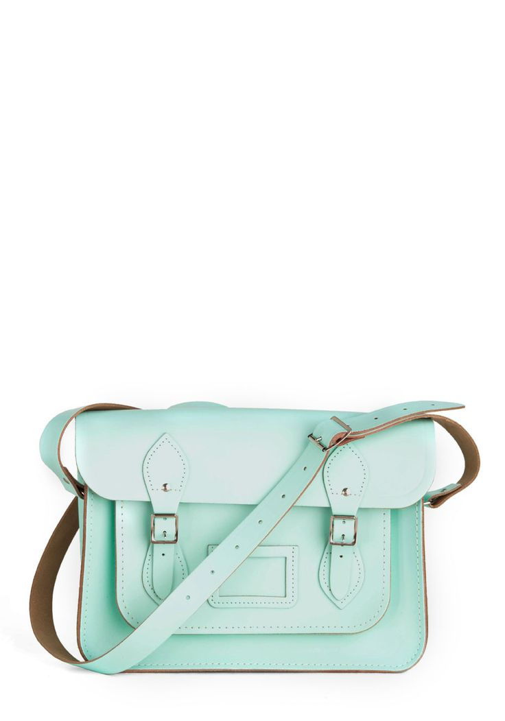 """Upwardly Mobile Satchel in Mint - 13"""" - Green, Solid, Buckles, Pockets, Casual, Vintage Inspired, Pastel, Work $154.99"""