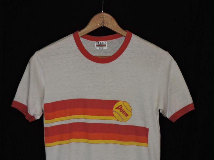 RARE Vintage 70s 80s Penn Tennis Balls Thin Soft Ringer T Shirt s USA Made   eBay