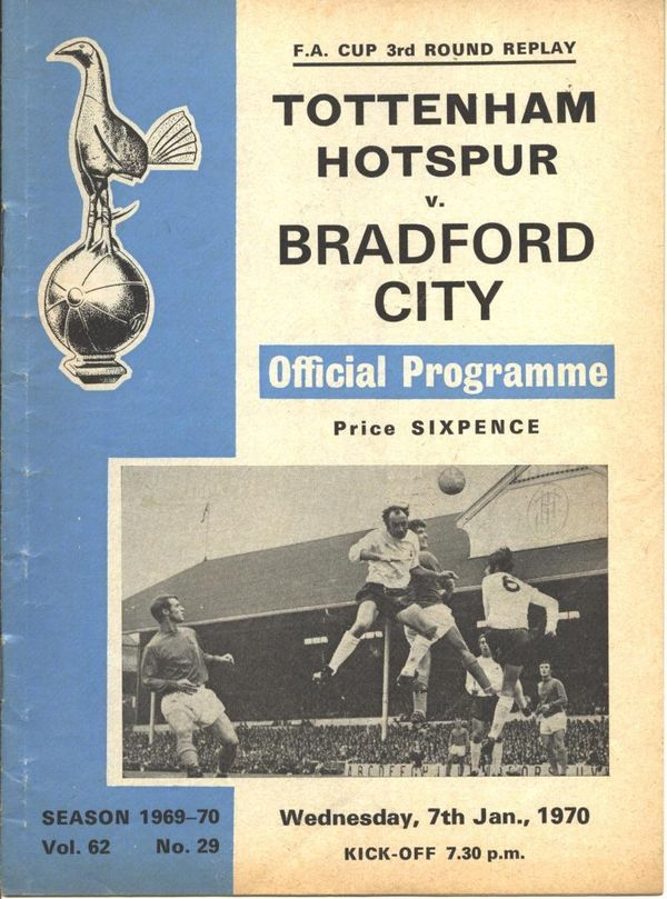 Tottenham 5 Bradford City 0 in Jan 1970 at White Hart Lane. The programme cover for the FA Cup 3rd Round Replay.