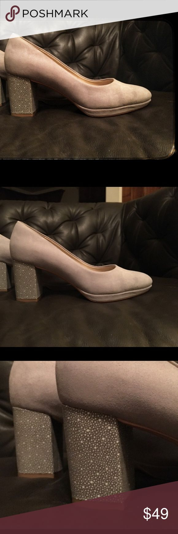 "NWT Clarks Grey Block heels Grey Clark's block heels, with pretty accent heels. Light grey color, suede material. 3"" heel. Never worn!! (See photo of bottom of shoe.) no box. Clarks Shoes Heels"