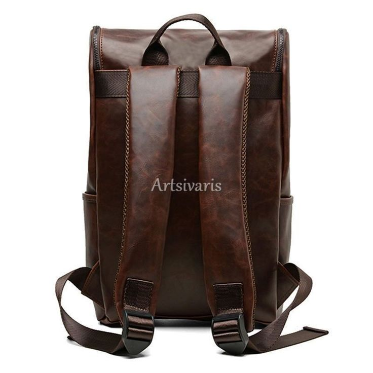 "Stylish Vintage Leather Backpack 14"" Laptop Shoulder Bag Business Travel Satchel 