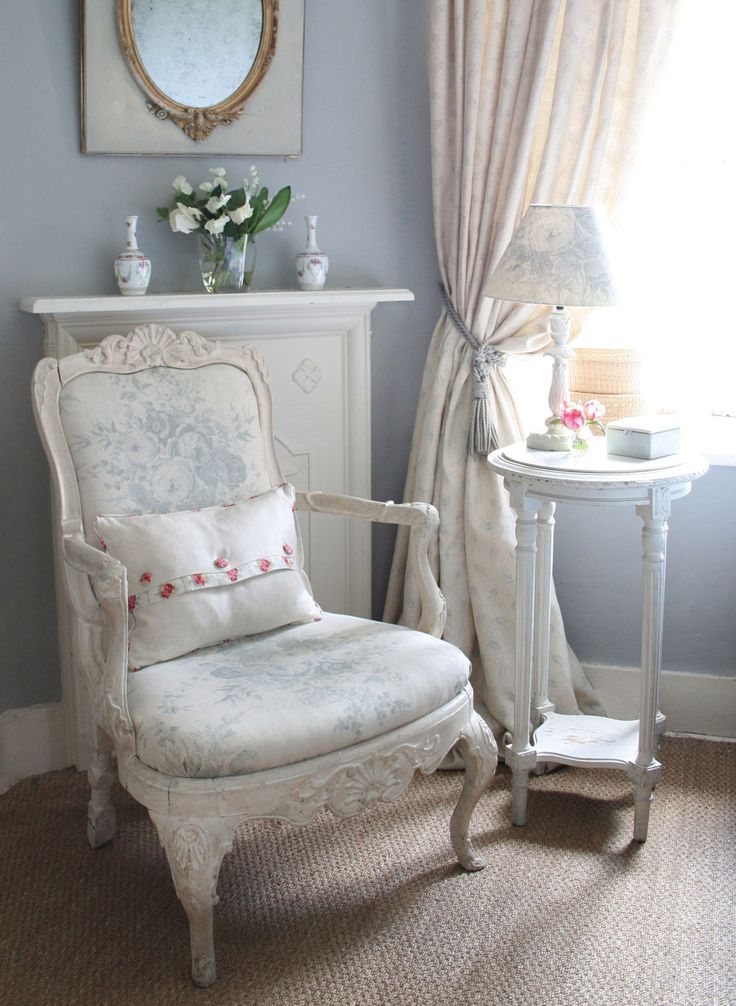 Vintage decor in light blue with beautiful white wood armchair :: Kate Forman |  IMAGE IS SUPPLIED BY KATE FORMAN DESIGNS