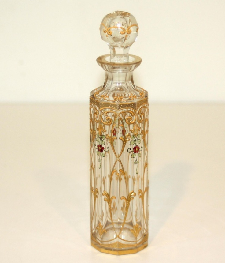 Antique French Enameled Clear Baccarat Glass Perfume Bottle - ca. 1890 - 1920 | JV