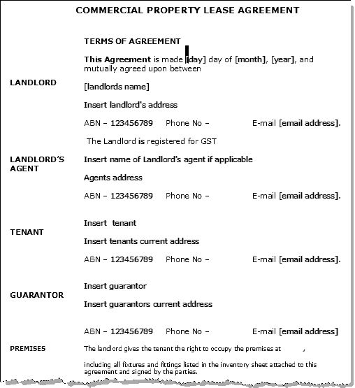 Home Lease Agreement Template Commercial Lease Agreement Template