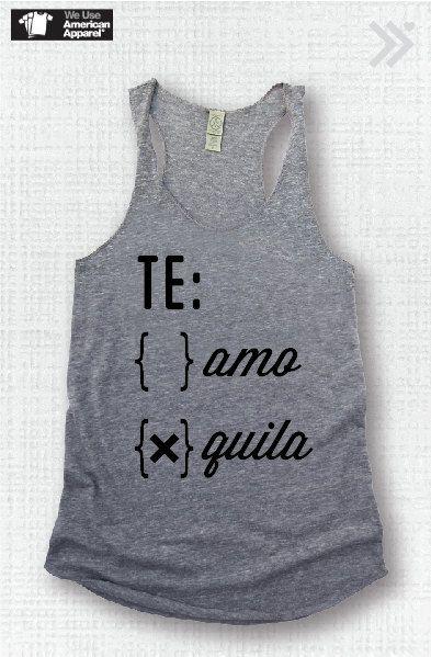 TE Amo or Quila..Funny Tank Yoga Shirt Gym Shirt Gym by everfitte