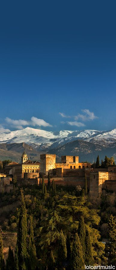 See the Alhambra palace. The Alhambra and Sierra Nevada, Granada, Spain