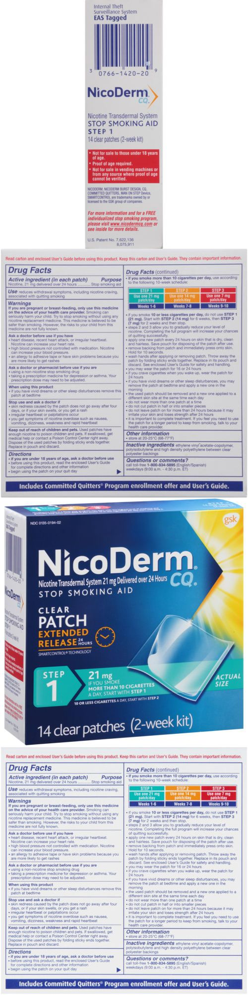 Patches: Nicoderm Cq Step 1 Stop Smoking Aid Nicotine Patch, 21Mg, 14 Clear Patches BUY IT NOW ONLY: $58.47