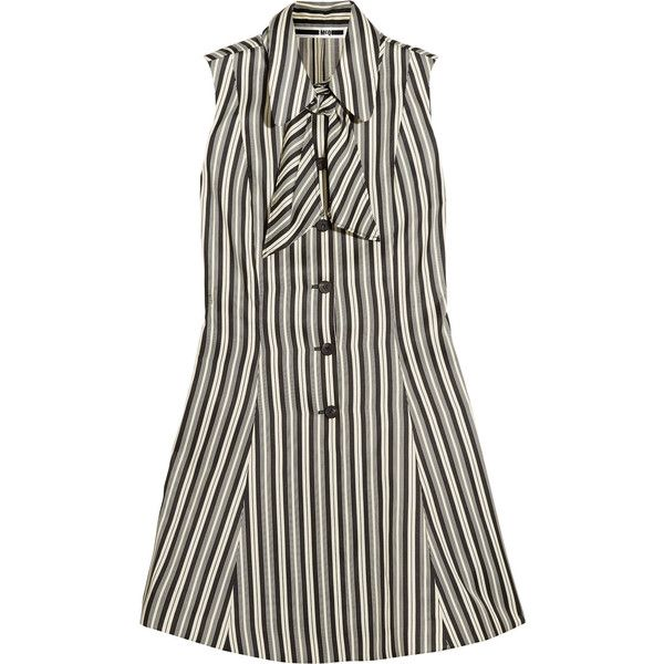 McQ Alexander McQueen Pussy-bow striped satin-twill mini dress ($505) ❤ liked on Polyvore featuring dresses, black and white mini dress, black and white short dresses, white and black striped dress, satin mini dress and black and white stripe dress